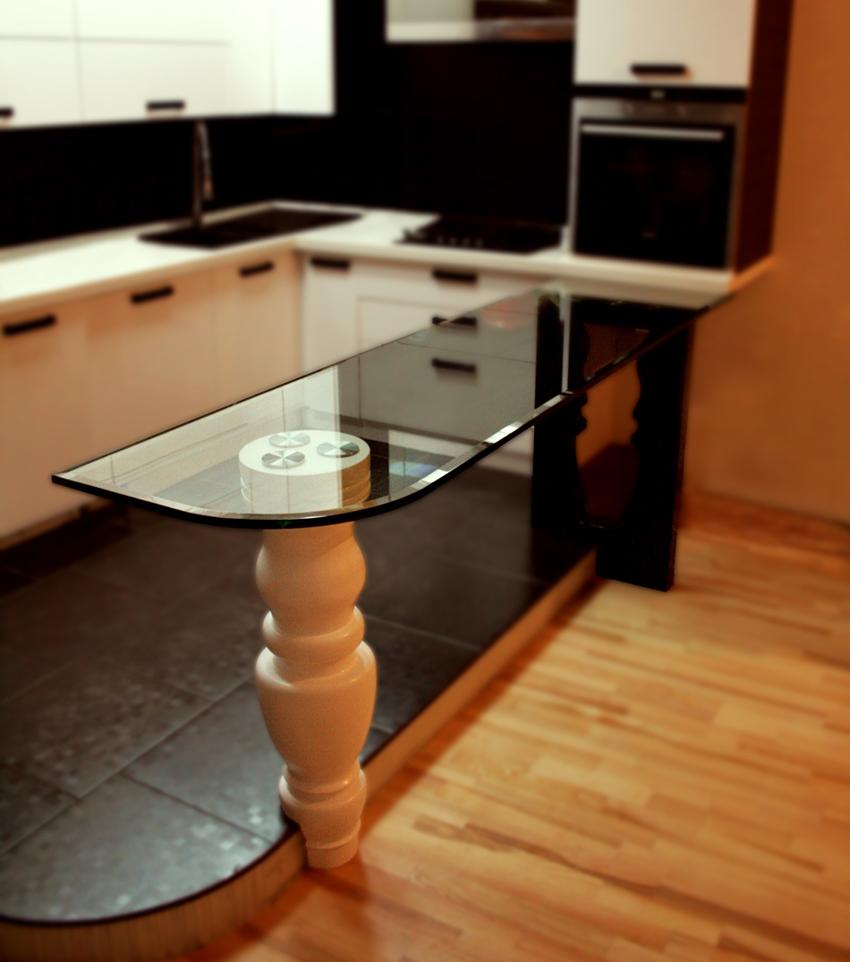 барная стойка для кухни стеклянная у окна функциональности